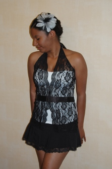 Black and white halter and white skirt