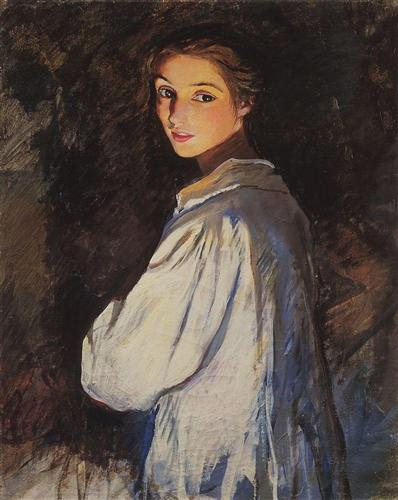 """Girl with a candle. Self portrait"" by Zinaida Serebriakova (1911)"